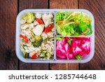 lunch box  chicken  broccoli ...   Shutterstock . vector #1285744648