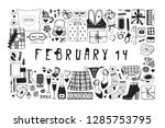 hand drawn fashion illustration ... | Shutterstock .eps vector #1285753795