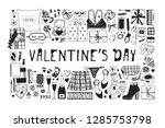 hand drawn fashion illustration ... | Shutterstock .eps vector #1285753798