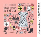 hand drawn fashion illustration ... | Shutterstock .eps vector #1285765732
