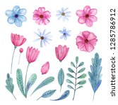 set of hand painted watercolor  ... | Shutterstock . vector #1285786912