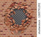 red brick break wall hole... | Shutterstock .eps vector #1285791292
