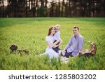 family on a picnic in the... | Shutterstock . vector #1285803202