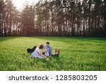 family on a picnic in the... | Shutterstock . vector #1285803205