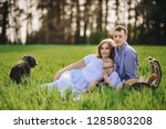 family on a picnic in the... | Shutterstock . vector #1285803208