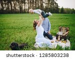family on a picnic in the... | Shutterstock . vector #1285803238