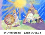 children invoke spirit of rain | Shutterstock . vector #1285804615