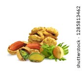 nuts low poly. fresh walnut ... | Shutterstock . vector #1285813462