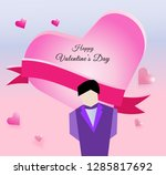man hold hearts on valentine's...   Shutterstock .eps vector #1285817692