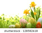 Stock photo easter eggs hiding in the grass with daffodil 128582618