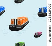 editable flat style canal boat... | Shutterstock .eps vector #1285829002