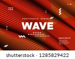 3d poster with wave stripes.... | Shutterstock .eps vector #1285829422