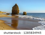 beach and old ruined defense... | Shutterstock . vector #1285834945