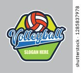 volley ball logo with text... | Shutterstock .eps vector #1285837978