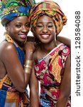 two young beautiful african... | Shutterstock . vector #128584088