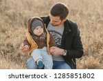 young dad with son boy child... | Shutterstock . vector #1285851802