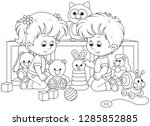 small children playing with... | Shutterstock .eps vector #1285852885
