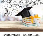 graduation mortarboard on top... | Shutterstock . vector #1285853608