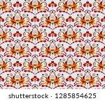 seamless pattern in folk style...   Shutterstock .eps vector #1285854625