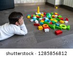 happy baby playing with toy... | Shutterstock . vector #1285856812