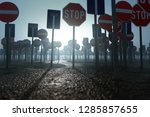 many prohibiting signs  3d... | Shutterstock . vector #1285857655