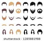 mustache and beard  hairstyles...   Shutterstock .eps vector #1285881988