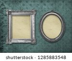 set of wooden vintage silver... | Shutterstock . vector #1285883548