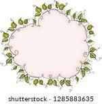 cloud shaped leaves border... | Shutterstock .eps vector #1285883635
