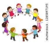 happy kids holding hands in a...   Shutterstock .eps vector #1285897195