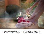 closeup of hand female holding... | Shutterstock . vector #1285897528