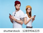 fashionable cute couple are... | Shutterstock . vector #1285906225