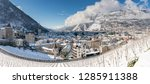 view of the historic city of Chur in the Grisons in the Swiss Alps in winter