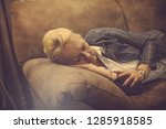 evening nap. senior woman... | Shutterstock . vector #1285918585