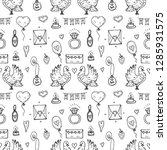 seamless pattern with cute hand ... | Shutterstock .eps vector #1285931575