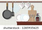 home interior of kitchen with... | Shutterstock .eps vector #1285935625
