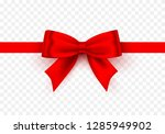 bow red tape on the transparent ... | Shutterstock .eps vector #1285949902