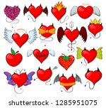 devil heart vector lovely red... | Shutterstock .eps vector #1285951075