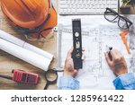 top view architect working on... | Shutterstock . vector #1285961422