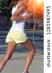 sports women legs racewalking... | Shutterstock . vector #1285987495