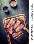 traditional smoked barbecue... | Shutterstock . vector #1285994182