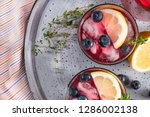 fresh blueberry summer mojito... | Shutterstock . vector #1286002138
