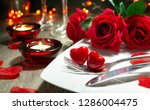festive table place setting for ... | Shutterstock . vector #1286004475