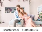 happy morning of young romantic ... | Shutterstock . vector #1286008012
