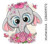 cute cartoon elephant with... | Shutterstock .eps vector #1286009572
