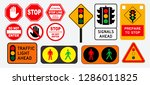 set of flat traffic light and... | Shutterstock .eps vector #1286011825