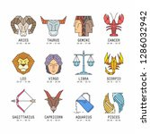 collection of zodiac signs | Shutterstock . vector #1286032942
