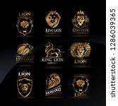 vector emblems with golden lions | Shutterstock .eps vector #1286039365