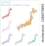 japan sketchy country. mind... | Shutterstock .eps vector #1286070892