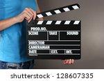 movie production clapper board...   Shutterstock . vector #128607335