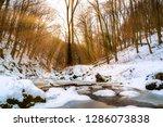 flowing stream in winter forest ... | Shutterstock . vector #1286073838